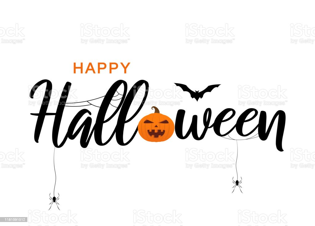 Happy Halloween Lettering With Bat Spiders And Pumpkin Vector Stock Illustration Download Image Now Istock