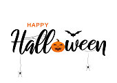 Happy Halloween lettering with bat, spiders and pumpkin. Vector illustration. EPS10