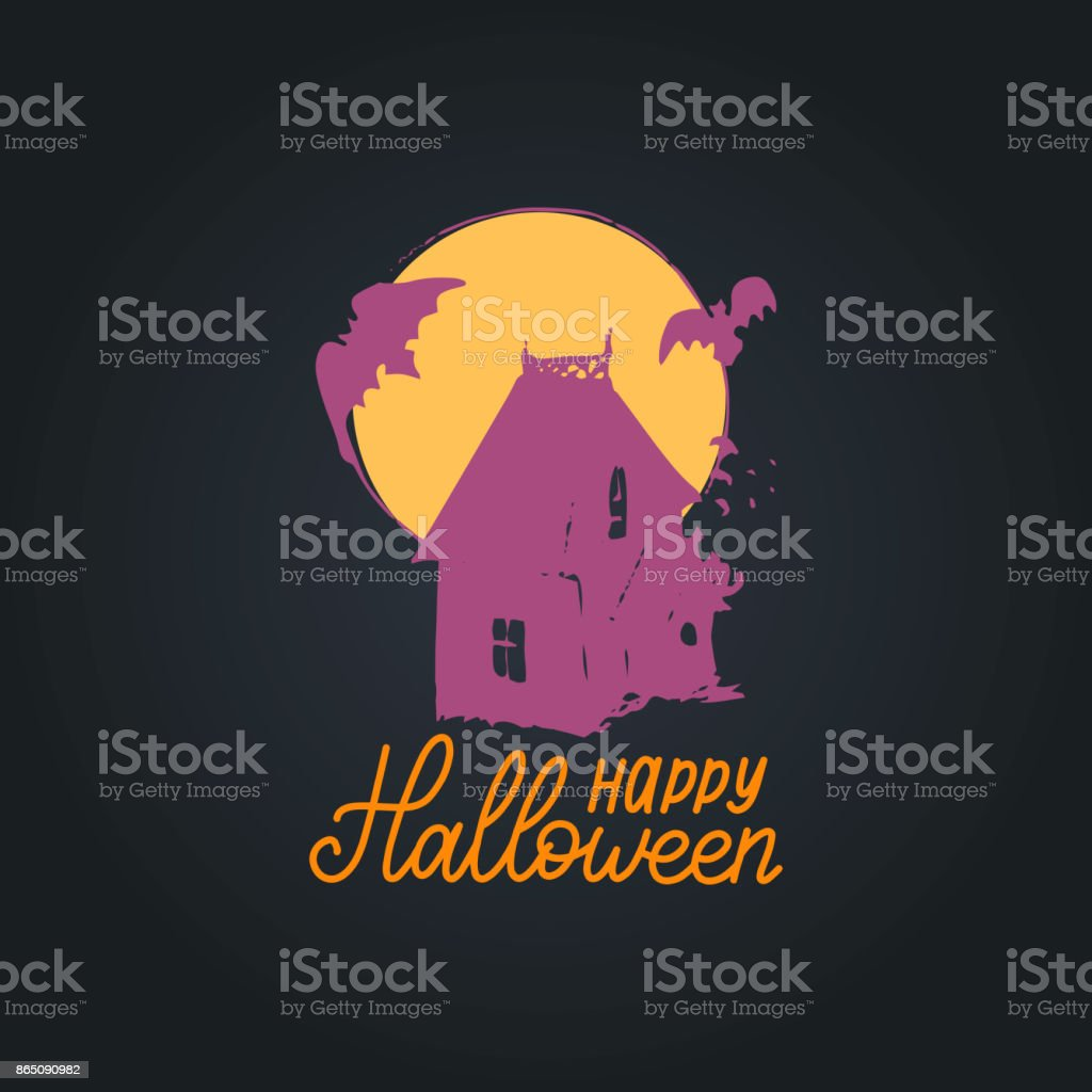 Happy Halloween Lettering With Dark House Vector