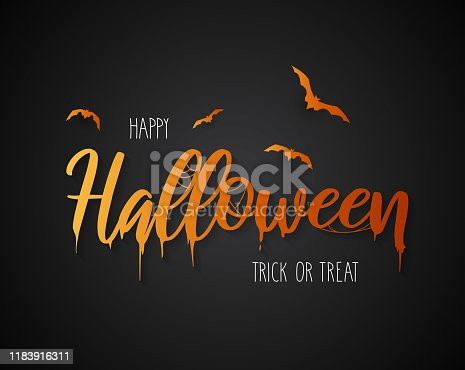 Happy Halloween lettering with flying bats on black background. Vector illustration. EPS10