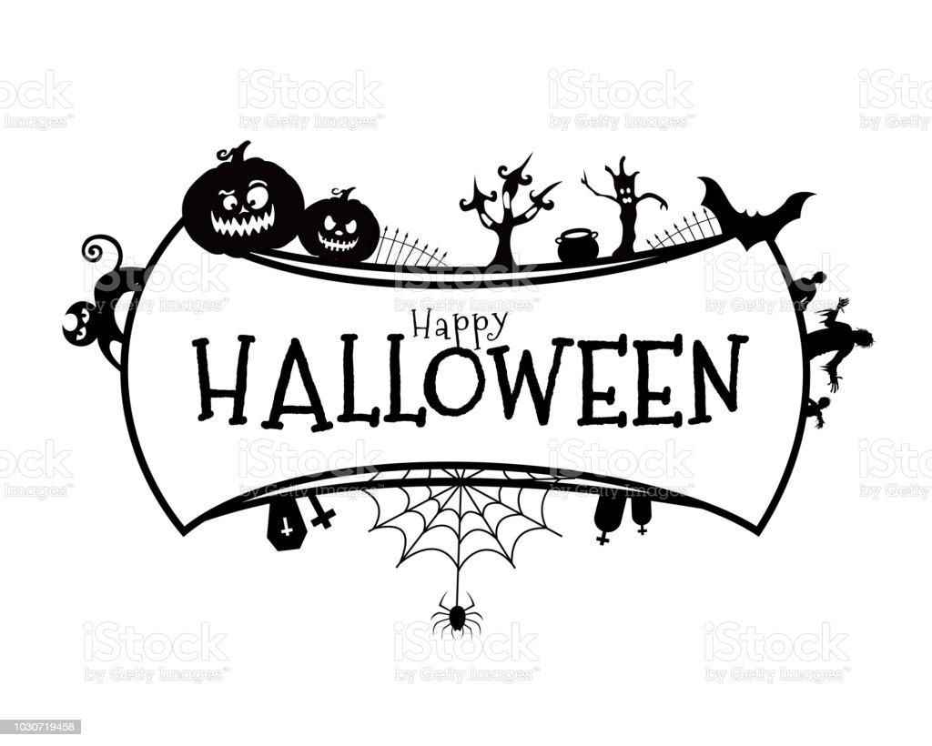 Happy Halloween Lettering With Halloween Element Design Stock Illustration Download Image Now Istock