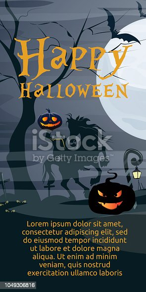 Happy Halloween lettering with moon and Headless Horseman. Invitation or advertising design. Typed text, calligraphy. For leaflets, brochures, invitations, posters or banners.