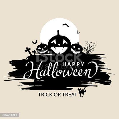istock Happy Halloween Lettering with Pumpkins 854296800