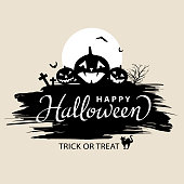 Happy Halloween lettering on the black pumpkins background