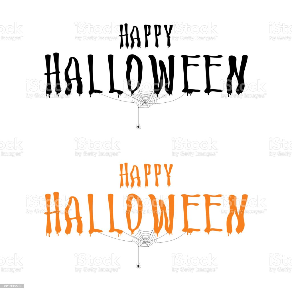 Happy Halloween Lettering With Spider And Web Halloween Calligraphy