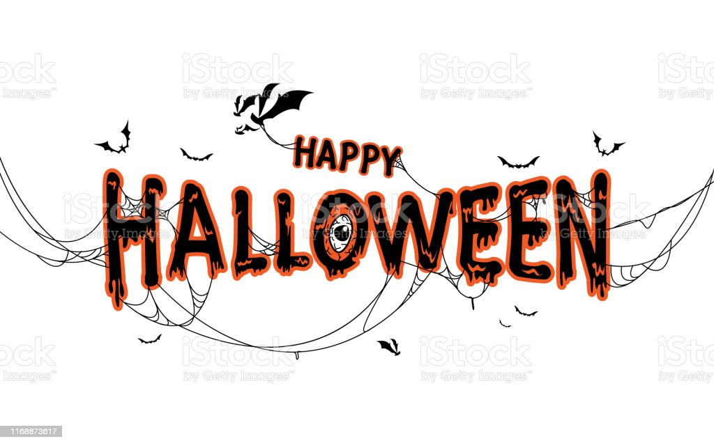 Happy Halloween Lettering With Spider Web And Bats Isolated Illustration Stock Illustration Download Image Now Istock