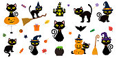 Happy Halloween. Mega set of black cat with yellow eyes in different poses with a pumpkin, on a broomstick, in a hat of a witch and other elements isolated on a white background. Cartoon, vector.