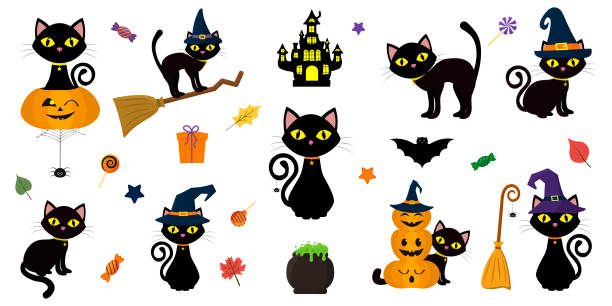 16 737 Halloween Cat Illustrations Clip Art Istock