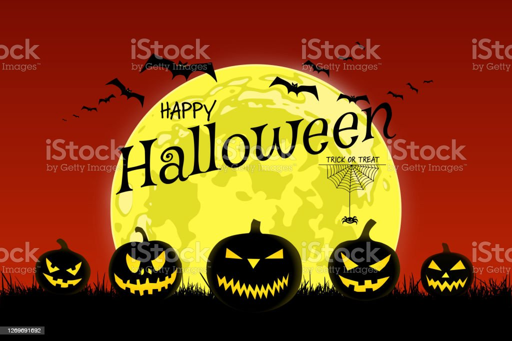 Happy Halloween Message On Yellow Full Moon With Bats And Pumpkins Stock Illustration Download Image Now Istock