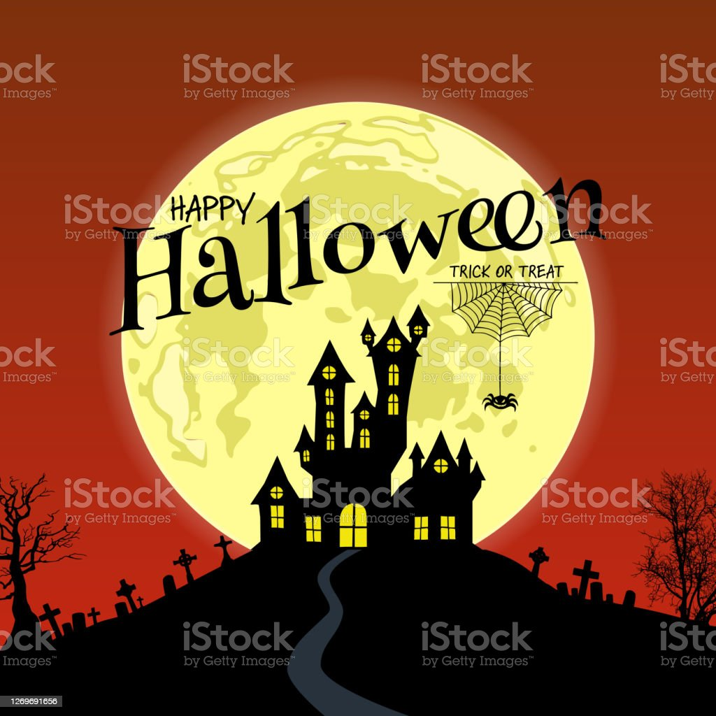 Happy Halloween Message On Yellow Full Moon With Spooky House Stock Illustration Download Image Now Istock