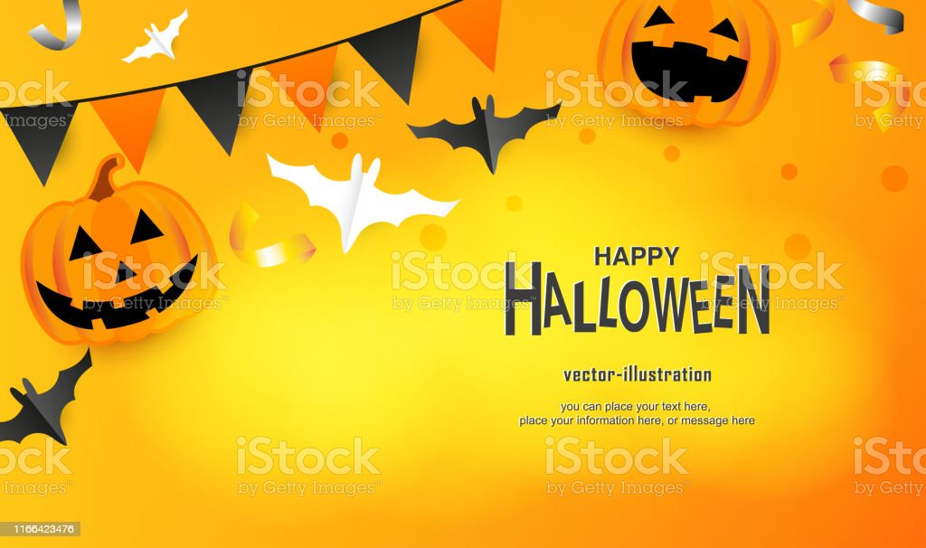 Happy Halloween Message Pumpkin And Bat On Yellow Flat Lay And Digital Craft Style Vector Stock Illustration Download Image Now Istock
