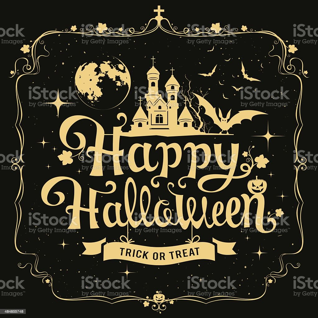 happy halloween message silhouette design stock vector art more