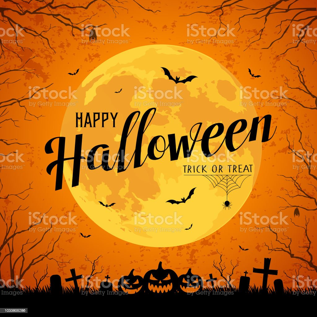 Happy Halloween message yellow full moon and bat on tree royalty-free happy halloween message yellow full moon and bat on tree stock illustration - download image now