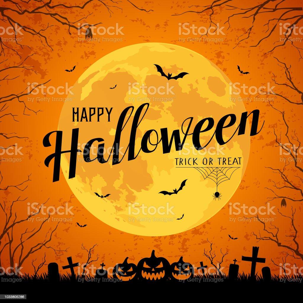 Feliz Halloween mensaje amarillo Plenilunio y bat en árbol - ilustración de arte vectorial
