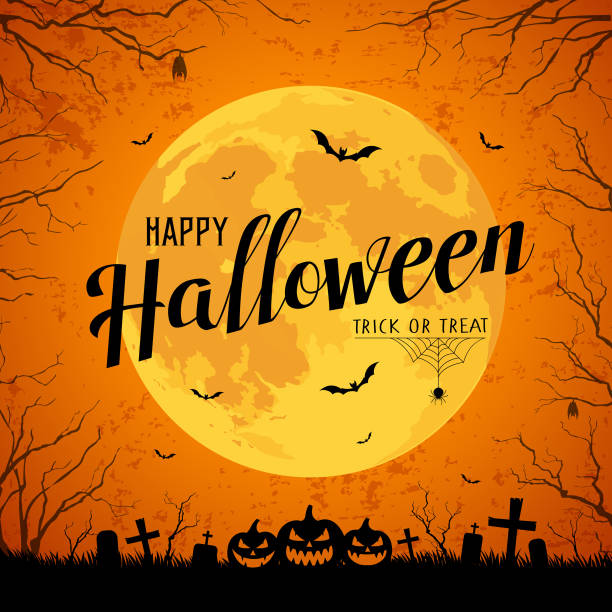 happy halloween message yellow full moon and bat on tree - halloween stock illustrations, clip art, cartoons, & icons