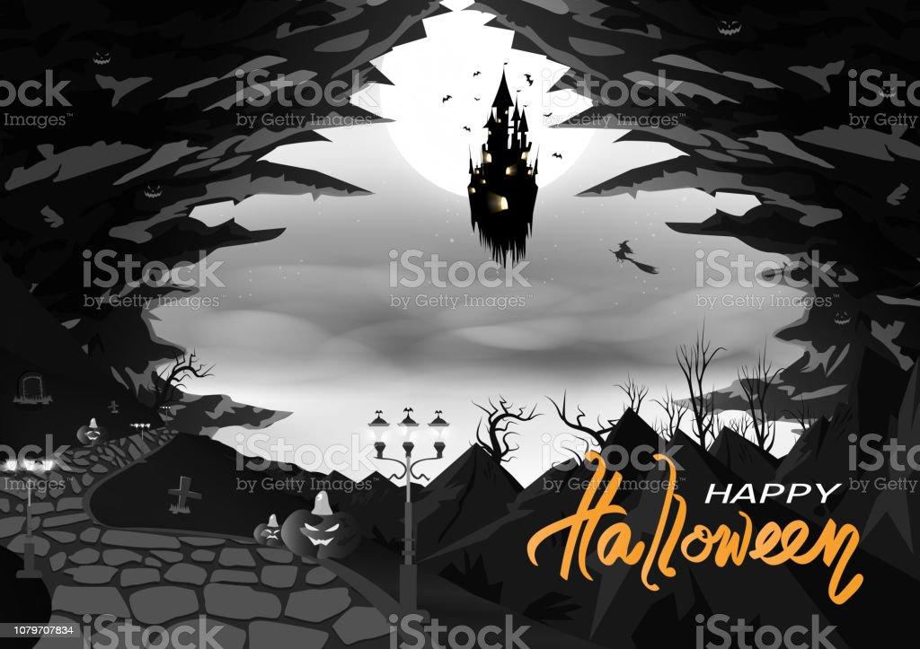 ハッピーハロウィンモノクロ神秘的な城の洞窟と山抽象的な背景