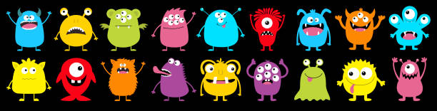 Happy Halloween. Monster colorful round silhouette icon super big set line. Cute cartoon kawaii scary funny baby character. Eyes, tongue, tooth fang, hands up. Black background. Flat design. Happy Halloween. Monster colorful round silhouette icon super big set line. Cute cartoon kawaii scary funny baby character. Eyes, tongue, tooth fang, hands up. Black background. Flat design. Vector monster stock illustrations