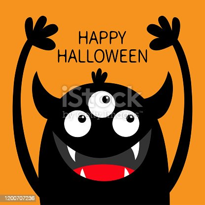 istock Happy Halloween. Monster head black silhouette. Three eyes, teeth fang, horns, hands up. Cute kawaii cartoon funny character. Baby kids collection. Flat design. Isolated. Orange background. 1200707236