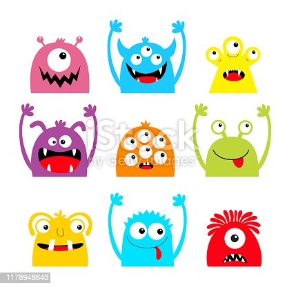 Happy Halloween. Monster icon set. Colorful silhouette head face. Eyes, tongue, tooth fang, hands up. Cute cartoon kawaii scary funny baby character. White background. Flat design. Vector illustration