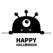 Happy Halloween. Monster scary face head icon. Hands paw holding line. One eye, fang tooth. Cute cartoon boo spooky character. Black silhouette. Kawaii funny baby. Flat design. White background Vector