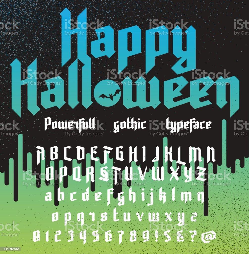 Vetor de Feliz Dia Das Bruxas Nova Poderosa Gótico Typeface e mais