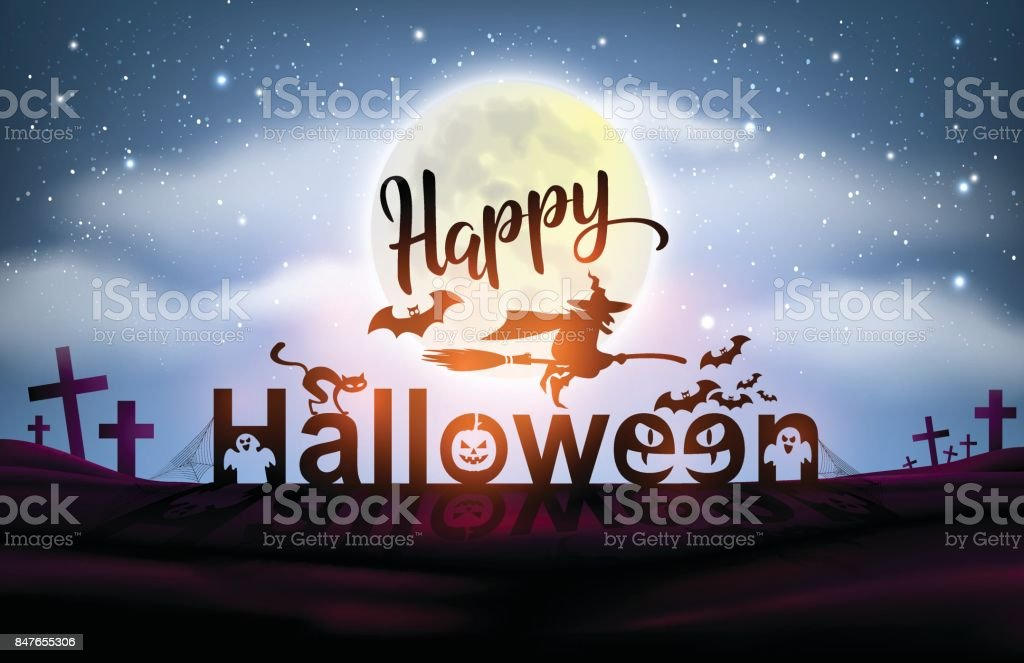 Happy Halloween Night Background Full Moon. Flyer Or Invitation Template  For Halloween Party. Vector