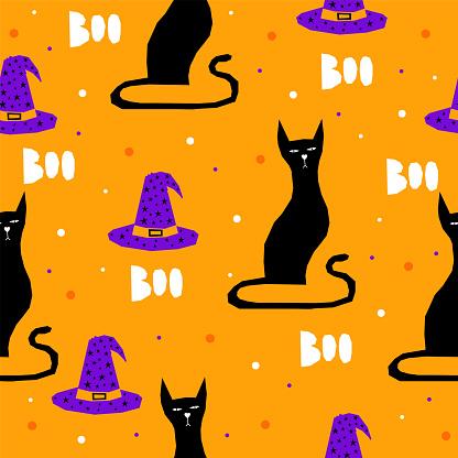 Happy halloween night party card template. Halloween art foe design halloween party invitation, children t-shirt print, wallpaper, greeting gift card etc.