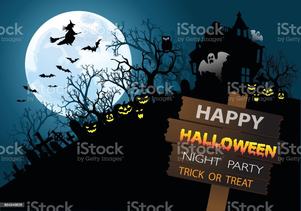 Happy Halloween Night Party Holiday Festival Design Vector Illustration.  Royalty Free Stock Vector Art