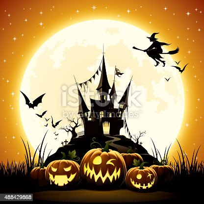 - halloween night with pumpkins, haunted castle and witch