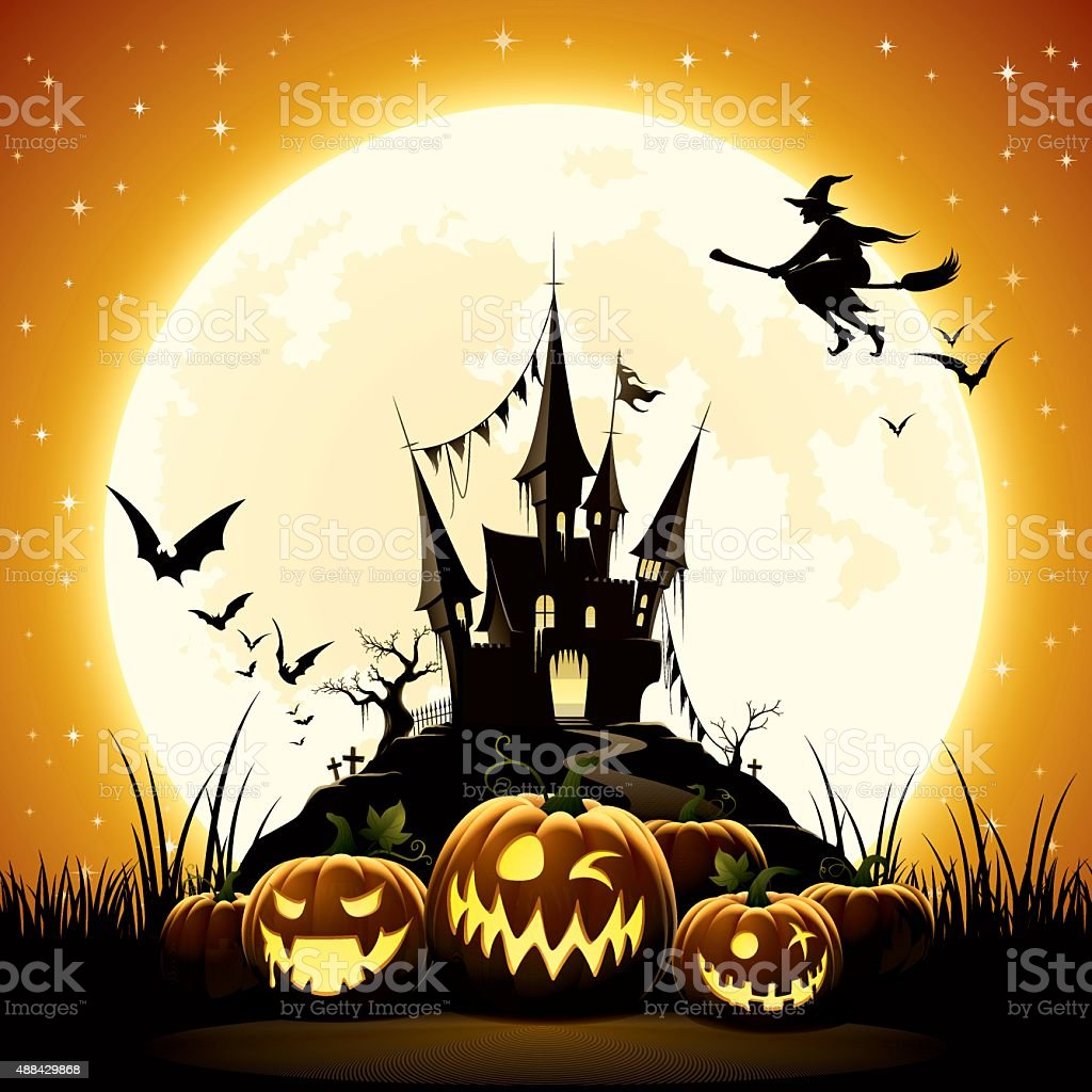 Happy Halloween night vector art illustration