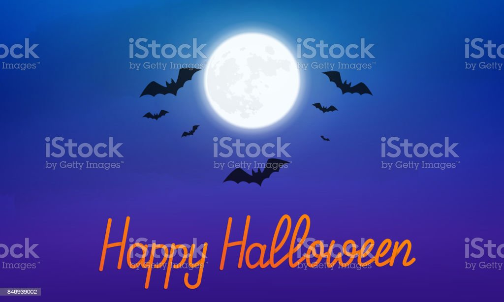 Happy Halloween. Night view of glowing full moon and flying bats. Banner with Happy Halloween hand lettering vector art illustration