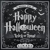 Happy Halloween written on vintage blackboard with pumpkin, bats and moon.