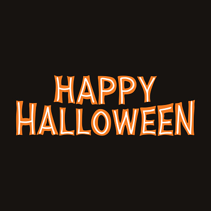 Happy Halloween. Orange lettering with white lines on a dark background. Vector stock illustration.