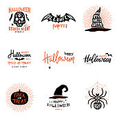 Happy Halloween overlays, lettering labels design set. Isolated emblem with quote Trick or Treat. Halloween party badges. Vector clipart
