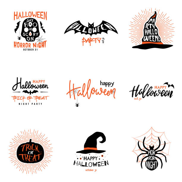 happy halloween overlays, lettering labels design set. isolated emblem with quote trick or treat. halloween party badges. vector clipart - halloween stock illustrations