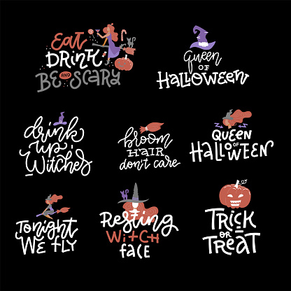 Happy Halloween overlays, lettering labels design set. Trendy holiday badges. Hand drawn isolated emblem with quote and illustrations. Witch party sign or logo. Halloween photo overlays design