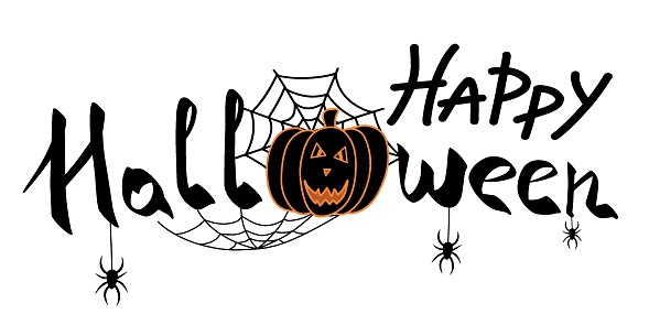 Happy Halloween party banner isolated on white background. Halloween pumpkin, spiders on spider net. Scary vector illustration for advertisement, social network, website