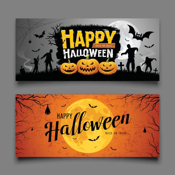 happy halloween party banners horizontal collections - halloween stock illustrations, clip art, cartoons, & icons