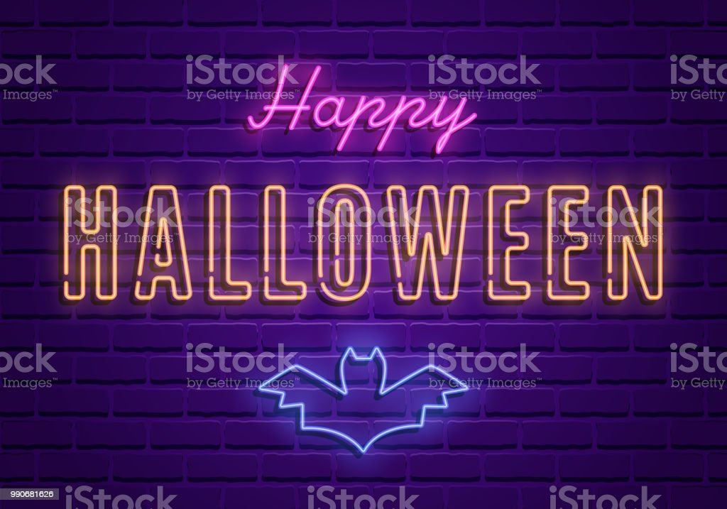 Happy Halloween Party Bright Signboard On Brick Wall Background Royalty Free Happy Halloween Party Bright