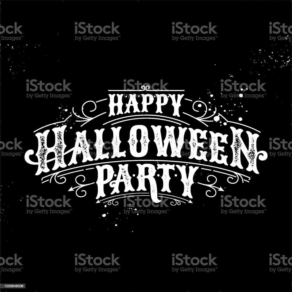 Happy Halloween Party Calligraphy Logo Scary Spooky Template Vector ...
