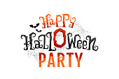 Happy Halloween Party. Gothic lettering in cobweb and blood. Spooky vintage text isolated on white background. Vector illustration.