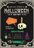 happy halloween invitation card. halloween greeting card with cartoon illustration .