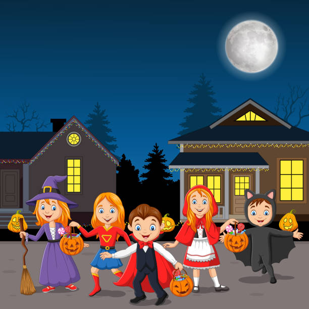 Happy halloween party kids wearing costumes Vector illustration of Happy halloween party kids wearing costumes spooky halloween town stock illustrations