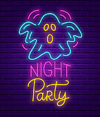 Happy Halloween party neon sign. Bright light banner. Holiday party signboard with ghost on brick wall background. Vector illustration