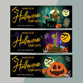 Happy Halloween party ticket template design. All hallow eve invitation flyer or poster in scary cartoon style. All saint holiday club event admission layout. Vector illustration.