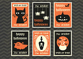 happy halloween greeting card  set.halloween symbol vector postage stamp collection.