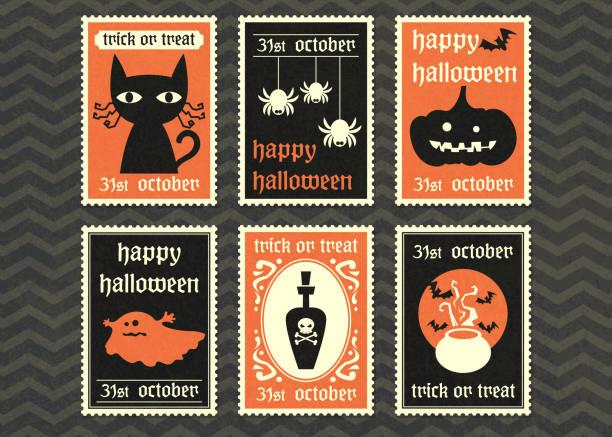 bildbanksillustrationer, clip art samt tecknat material och ikoner med happy halloween party vektor gratulationskort inställd. - ljus på grav