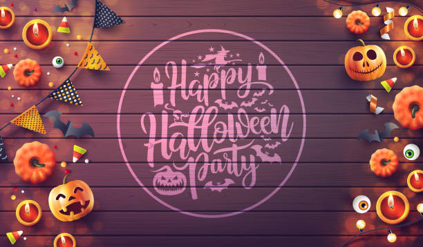Happy Halloween Party with candle light,pumpkin and Halloween Elements on wood background.Romantic Halloween date night Concept.Website spooky,Background or banner template.Vector illustration eps10 vector art illustration