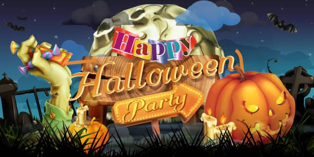 Happy Halloween party, zombie vector background vector art illustration