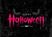 Happy Halloween pink message with spooky eye on rough surface background, vector illustration